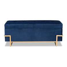 Elegant Storage Ottoman, Gold Painted Metal Legs and Navy Blue Velvet Seat