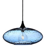 Bicycle Glass Co. - Lunar Pendant Light No. 952, Steel Blue, Matte Black Hardware - Form No. 952 in the Lunar Series is currently our largest pendant form.