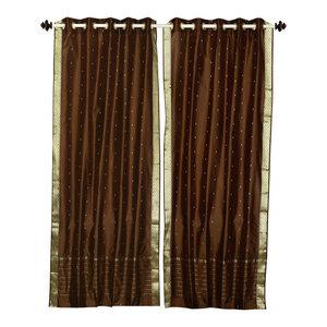 Brown Ring Top  Sheer Sari Curtain / Drape / Panel   - 60W x 63L - Piece