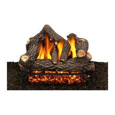 "24"" Cheyanne Glow Logs, Double Pilot Kit Burner Tube, Remote, Natural Gas"