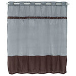 Lavish Home - Claridge Embroidered Shower Curtain with Grommets by Lavish Home - This classically simple embroidered shower curtain designed with a blue and brown make this shower curtain stand out.
