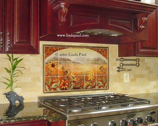linda paul studio sunflower kitchen backsplash tile mural tile murals. beautiful ideas. Home Design Ideas