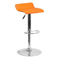 Contemporary Orange Vinyl Adjustable Height Barstool And Chrome Base