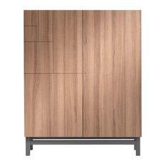 Walnut-Effect Shoe Storage Cabinet, Grey Base