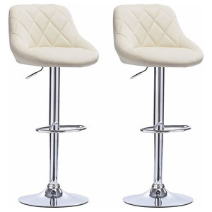 2 Bar Stools Set, Faux Leather With Backrest, Adjustable Swivel Gas Lift, Cream