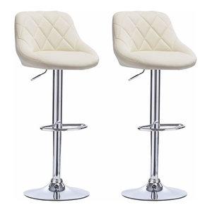 2 Bar Stools Set, Faux Leather With Backrest, Adjustable Swivel Gas Lift, Cream