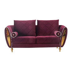 European Furniture Sipario Vita Modern Burgundy Loveseat Burgundy