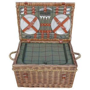 Burghley 4-Person Green Tweed Fitted Wicker Picnic Basket