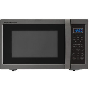 Carousel 1.4 Cu. Ft. 1100W Countertop Microwave Oven in Black Stainless Steel
