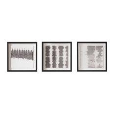 Monochrome Tie Dye Framed Prints, 40x40 cm, Set of 3