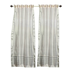 Lined-White with Silver trim Ring Top  Sheer Sari Curtain /  -43W x 84L-Piece