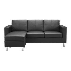 Modern Sectional Sofa With Reversible Chaise in Bonded Leather, Hardwood Frame