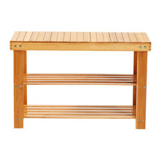 Natural Bamboo 2 Tier Entryway Seat With Storage Shelf
