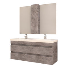 "DP Wall Bath Vanity Cabinet Set 47.2"" Double Sink With Laminated Granite Finish"