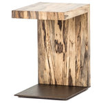 Zin Home - Hudson Spalted Wood and Iron C-Table - Highs and lows capture movement in this high-impact C-table. Spalted primavera seems to float over a gold-brushed iron base for slim, angular appeal. Each accent table top is unique and sealed to preserve a moment in time.