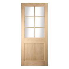 Oregon White Oak Glazed 6-Panel Exterior Door, 81.3x203.2 cm
