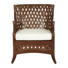Kona Chair With Cream Cushion and Brown Washed Rattan Frame, Cream/Brown