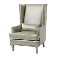 Owyhee Faux Leather Accent Chair, Silver