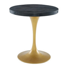 Modway Drive 28-inch Round Wood Top Dining Table In Black And Gold
