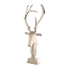 Freestanding Reindeer Sculpture MIRGA on Stand, Matt Nickel