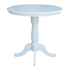 """36"""" Round Top Pedestal Table With 12"""" Leaf - 34.9""""H - Counter Height"""