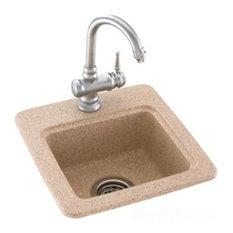 "Swanstone Bs-1515-018 Bisque 15""x15"" Drop-In Entertainment Sink"