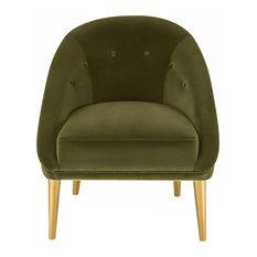 Hopkins Velvet Club Chair, Dark Olive Gren