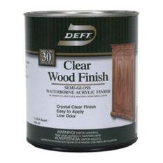 Deft® Dft108/04 Clear Wood Finish Interior Waterborne Acrylic, 1 Qt, Semi-Gloss