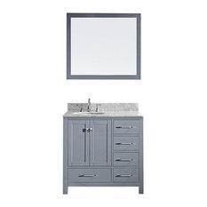 "Virtu Caroline Avenue 36"" Single Bathroom Vanity, Gray With Marble Top, Mirror"
