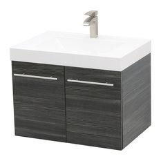 """24"""" Wall Mount Vanity Sink Set, White Integrated Sink Top, Dark Grey"""