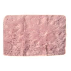 Faux Sheepskin Silky Rug, Light Pink, 4'x6'