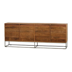 83-inch Angelina Sideboard Wood Natural Two Large Doors Handcrafted Steel Base