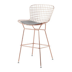 Wire Bar Stool Rose Gold Finish Gray Seat Pad