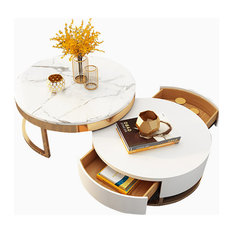 Round Wood Coffee Table With Lift-Top and Rotatable Drawer, Marble/White