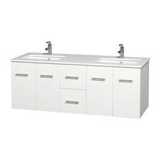 "Centra 60"" White Double Vanity, White Man-Made Stone Top, Undermount Square Sink"