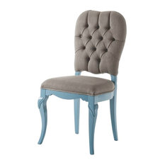 AIX Buttoned Light Blue Dining Chair, No Decoration, Without Armrests