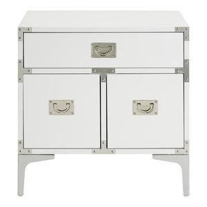 Monica Modern Lacquer Finish Chrome Metal Leg Side Table, White