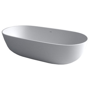 Stonekast Pebble Bath, White Matte Without Overflow, 1780 mm