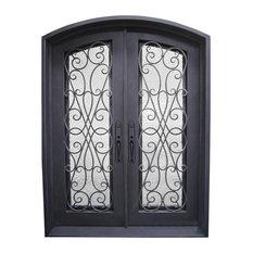 "Amorosa 72""x96"" Wrought Iron Door, 8"" Jamb, Aged Bronze Patina, Right Hand"