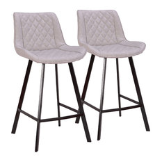 LumiSource Wayne 26-inch Counter Stool Black And Gray Set Of 2