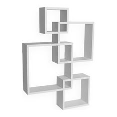 Danya B Intersecting Cube Shelves, Espresso, White