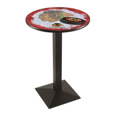 Chicago Blackhawks Pub Table w/Red Background 36-inchx36-inch by Holland Bar Stool Company
