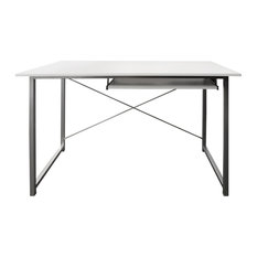 Tres Office Workstation With High Gloss Top, White and Grey