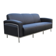 Boss Office Products   Office Sofa In Black Matte Vinyl   Sofas