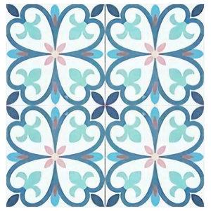 Maioliche Cefalù Floral Terracotta Tiles, Set of 4