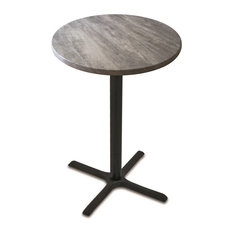 """Od211, 36"""" Black Wrinkle Indoor/Outdoor Table With Graystone Top"""
