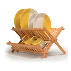 Dish Drying Rack Made Of 100% All Natural Premium Bamboo Folding Dish Drainer