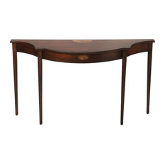 Offex Traditional Demilune Console Table Dark Brown