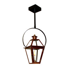 "French Quarter Copper Lantern, Black, 15"", Classic Yoke, Propane"