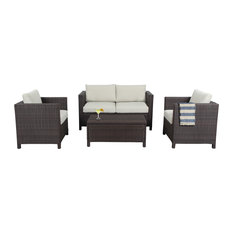 Phoenix Outdoor Wicker Lounge Set With Storage Box, 4-Piece Set